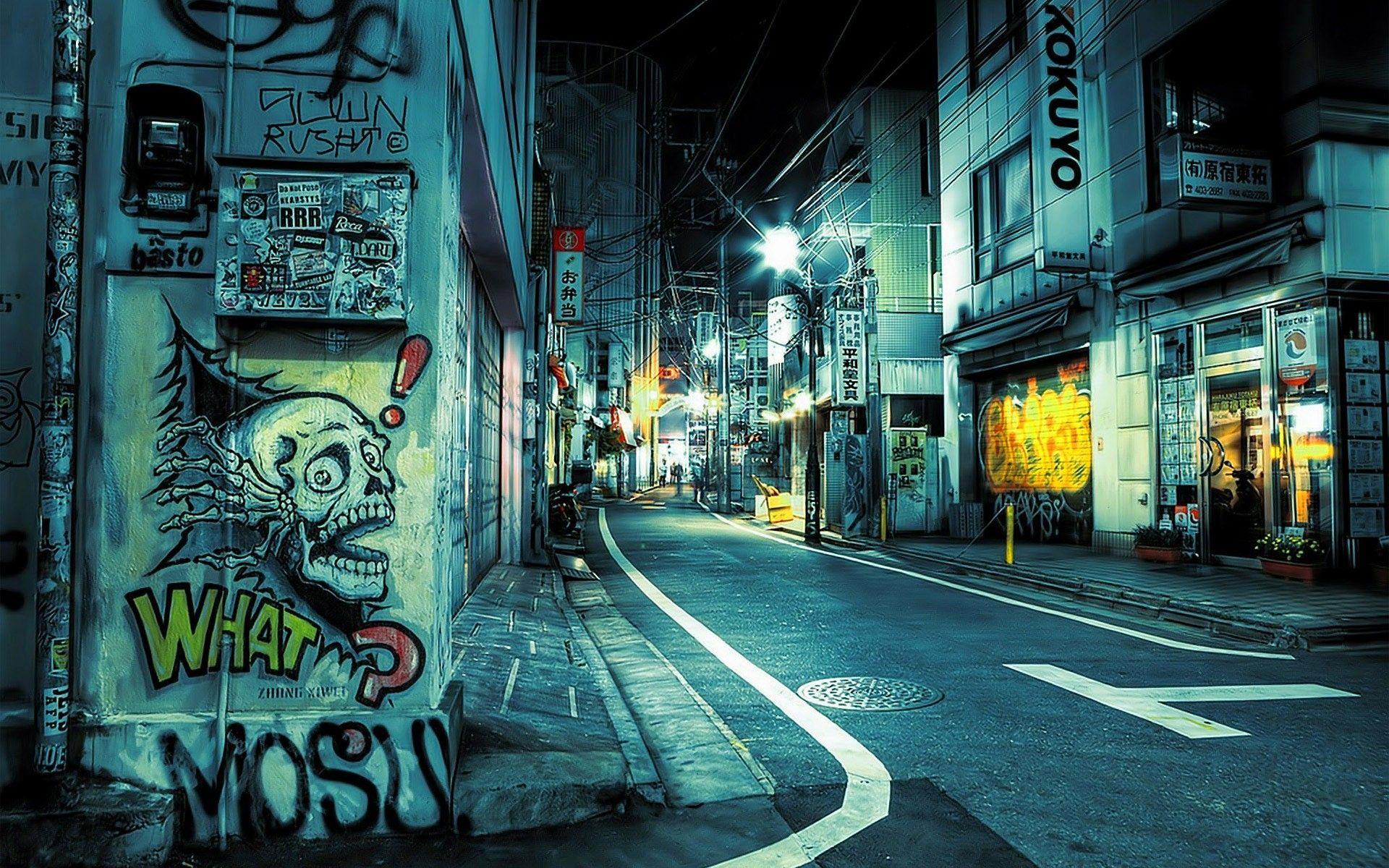 Graffiti wall tokyo - Japan Tokyo Street Night Desktop Wallpaper Jpg 1920 1200
