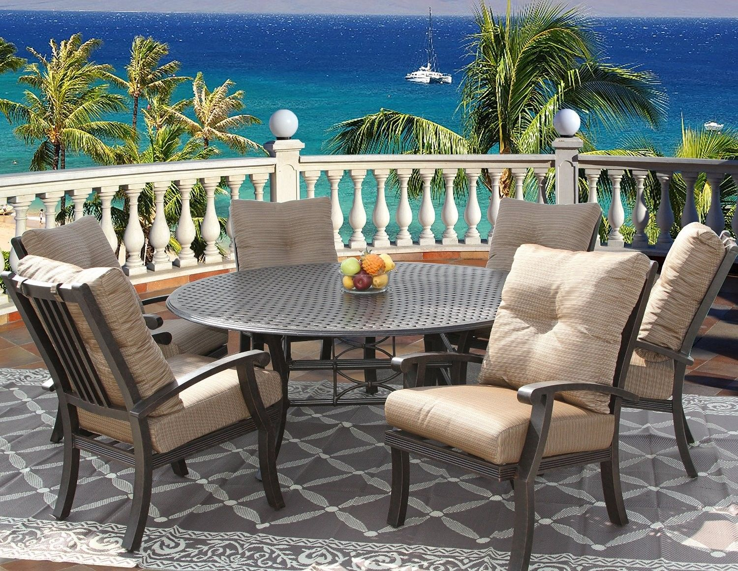 Outdoor round dining sets cushion outdoor patio 7pc dining set for 6 person