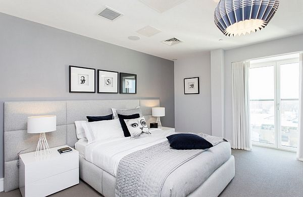 Combination Of Light Grey White And Blue For The Bedroom Graue