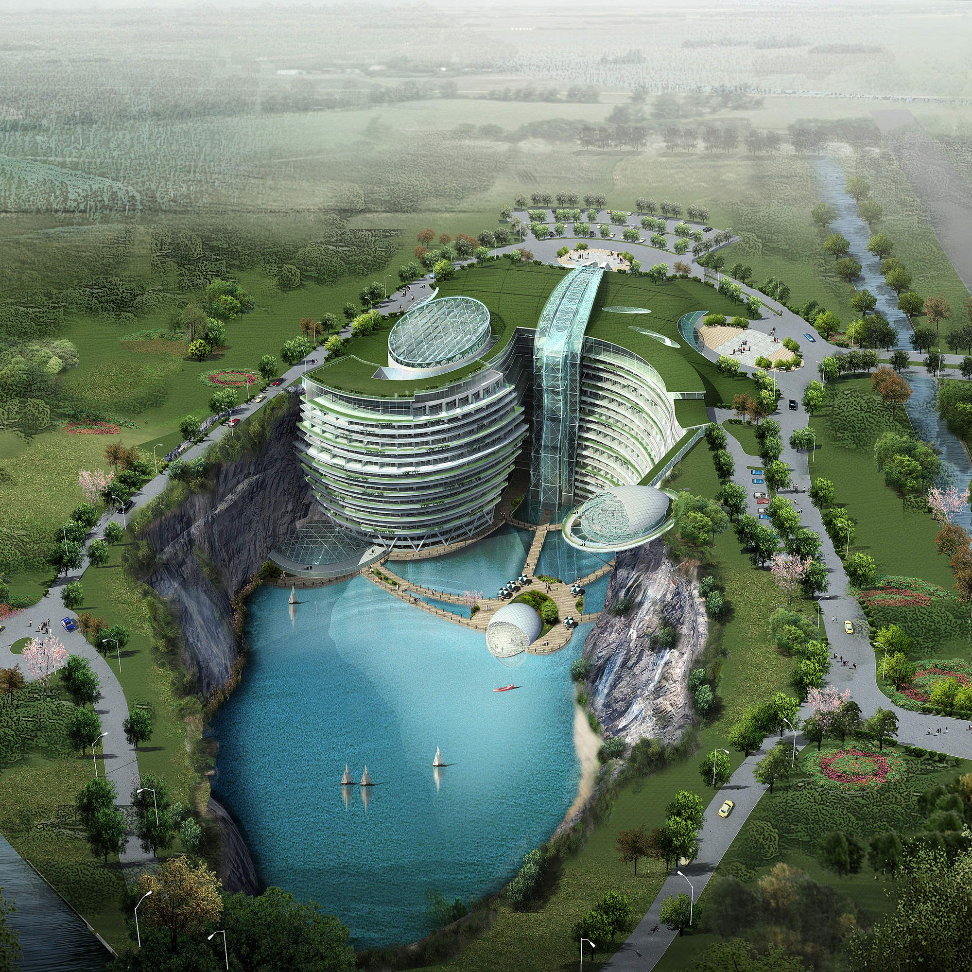 Shimao Wonderland InterContinental, outside of Shanghai, China - This futuristic underwater luxury hotel is being built in a quarry