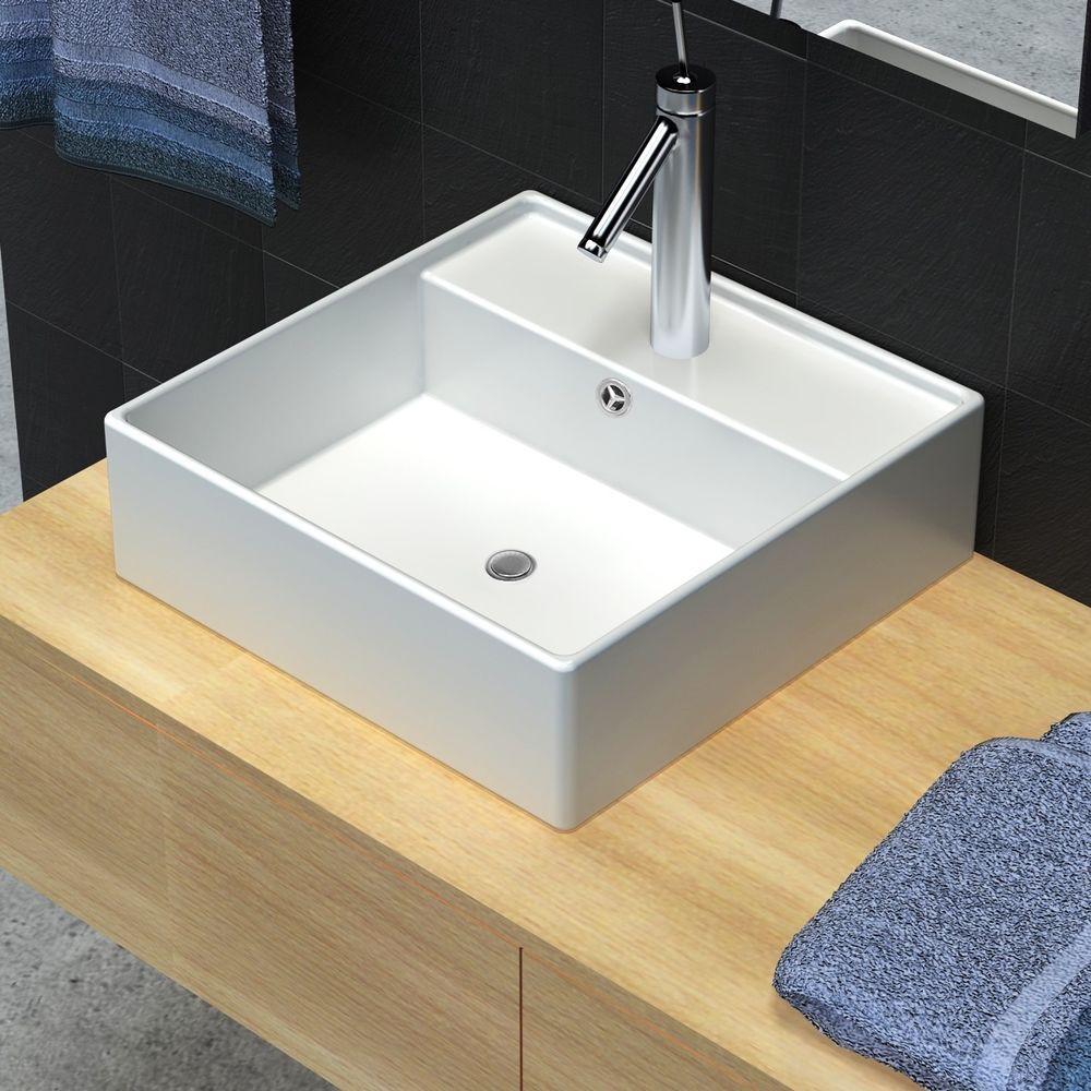 Modern White Square Ceramic Bathroom Faucet Vessel Sink Vanity Basin ...