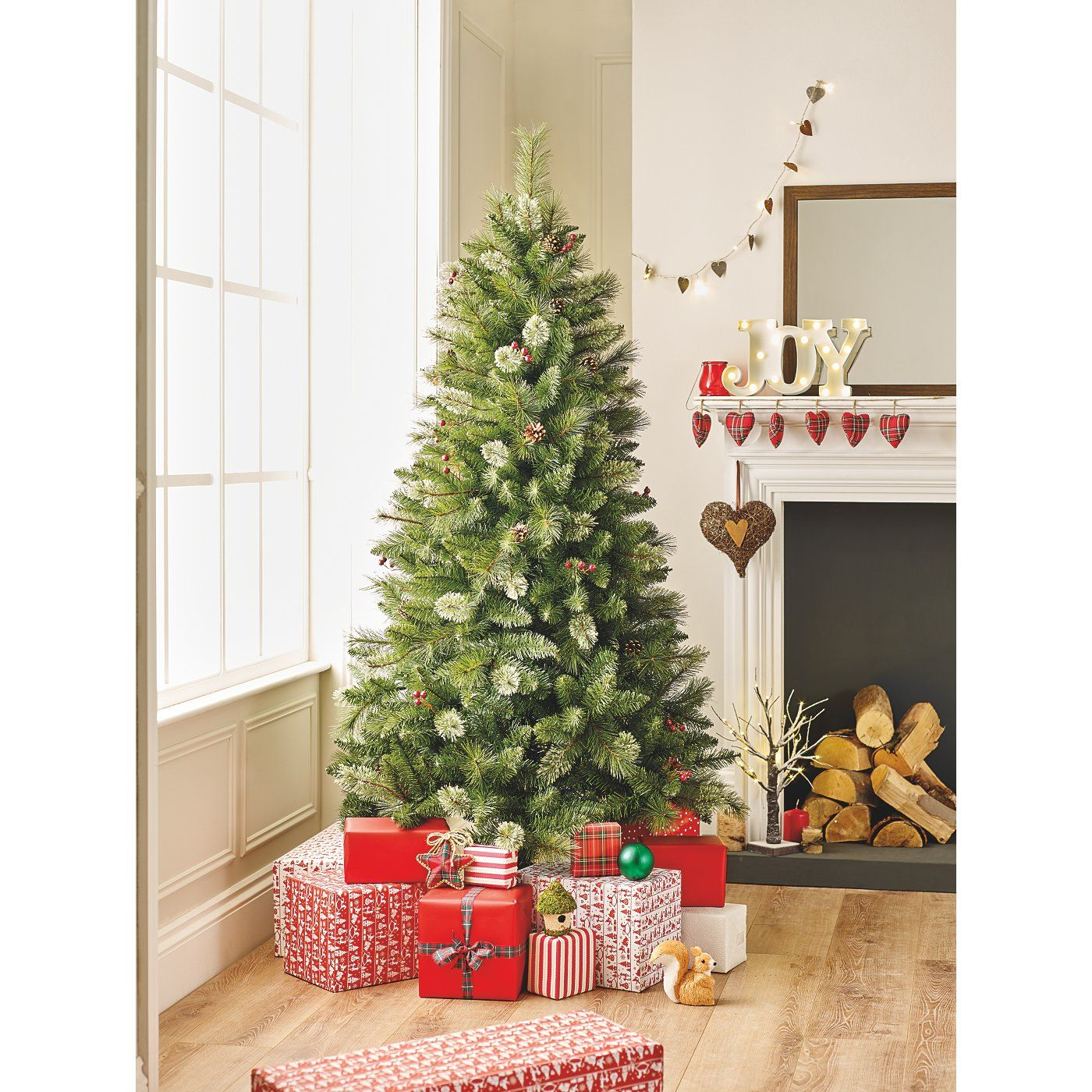 6 Ft Cashmere Feel Pine Cone And Berry Tree Christmas Trees Asda Direct Christmas Tree Tree Pine Cones