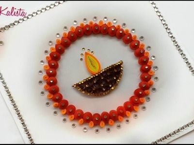 Quilling how to make designer silkthread bangles using tape diy crafts how to make diy paper quilling greeting card design for diwali diwali greeting card m4hsunfo