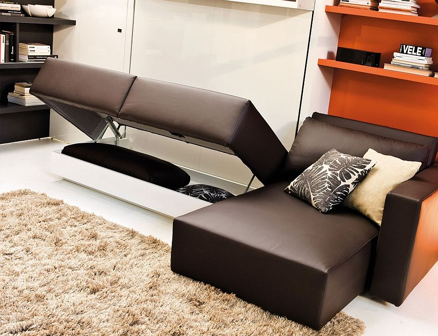 modern murphy bed with couch. Space-conscious Murphy Bed And Couch System Perfect For The Modern Bachelor Pad With R