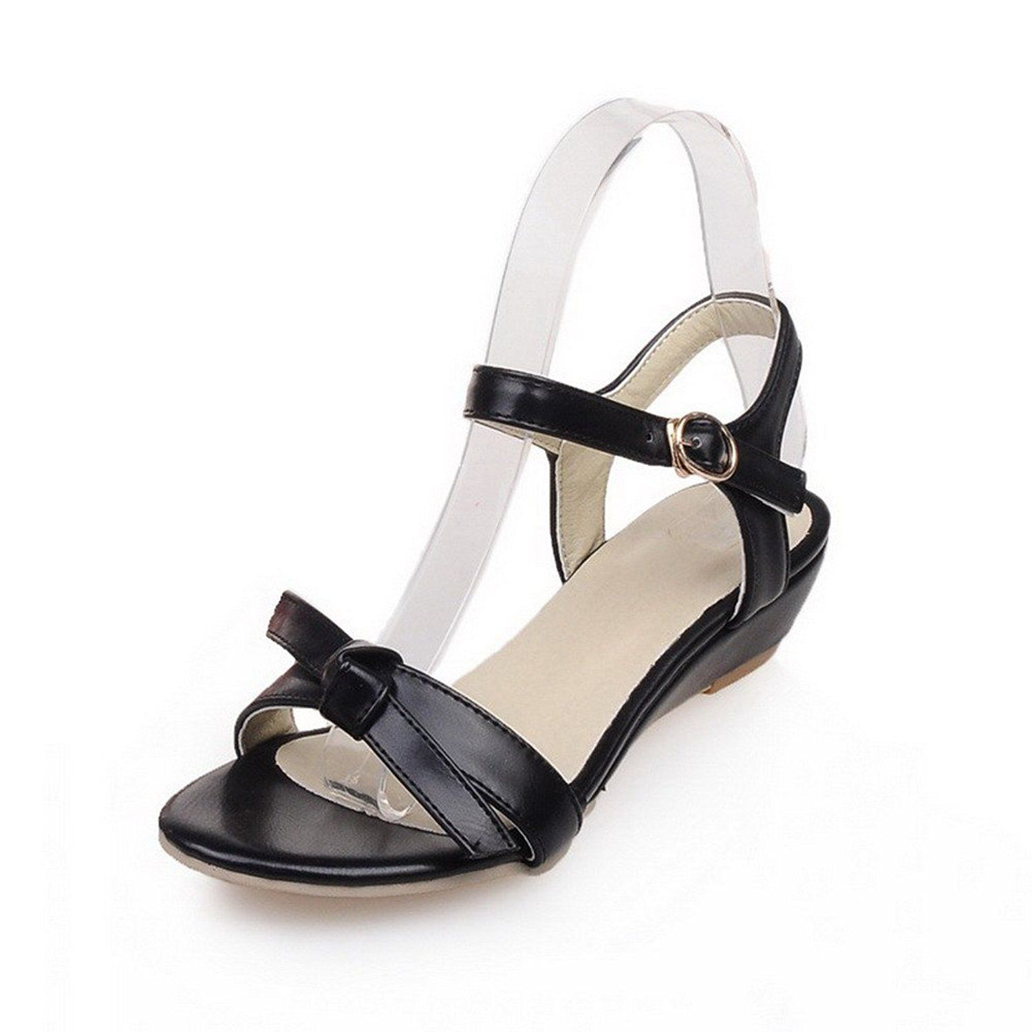 cdb9a43d63e9bc MayMeenth Women s Open Toe Buckle Pu Solid Low Heels Wedges-Sandals     You