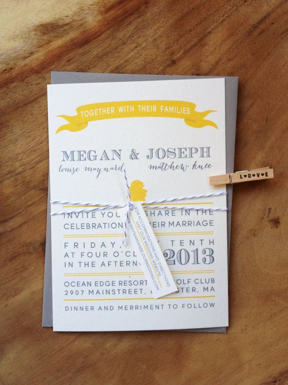 Yellow And Gray Wedding Invitations From Asensiblehabit Theperfectpalette