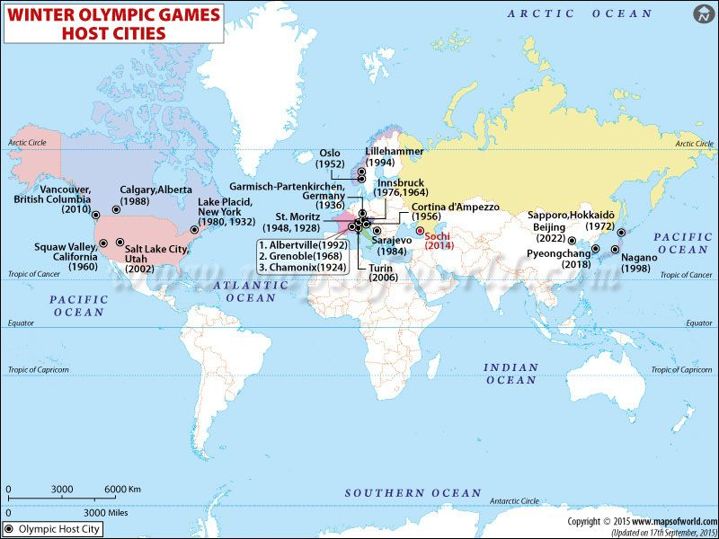 Winter 2018 Olympics Map showing cities host Winter Olympic Games