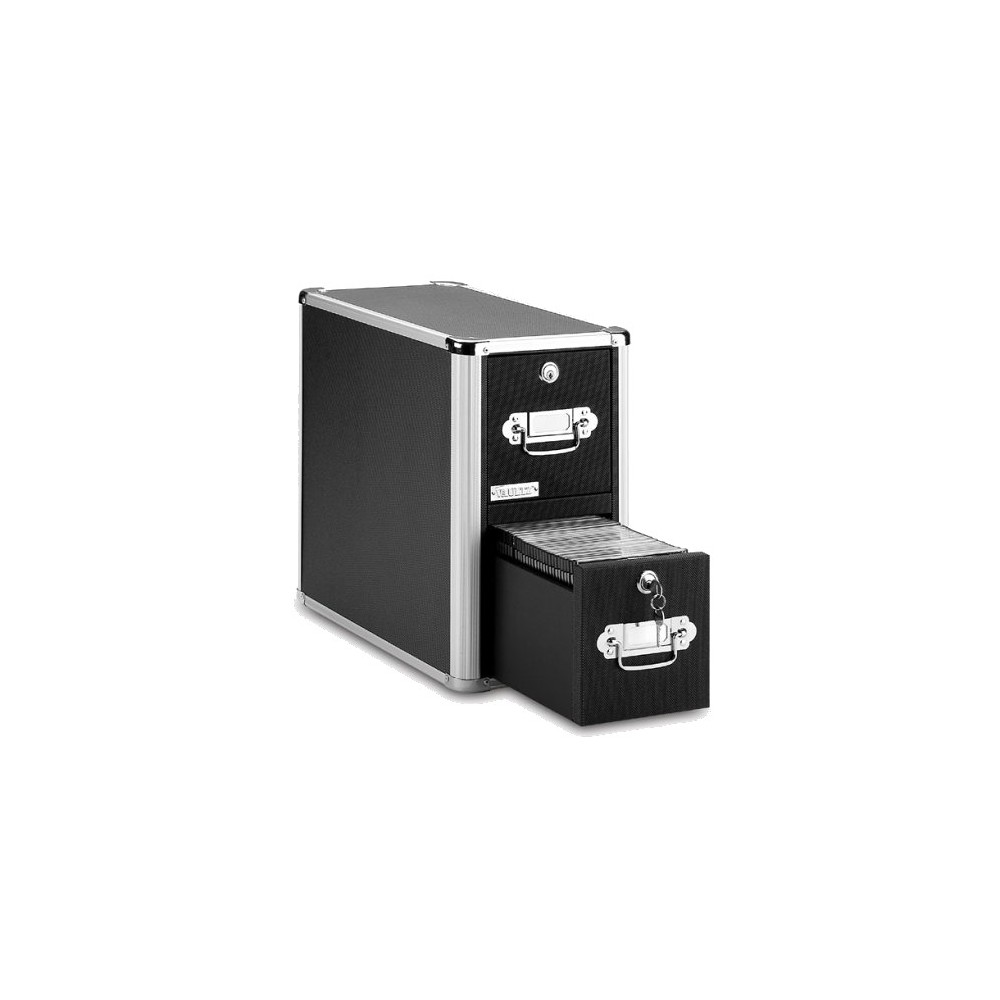 Cd Cabinet Vertical With Pull Handles Black