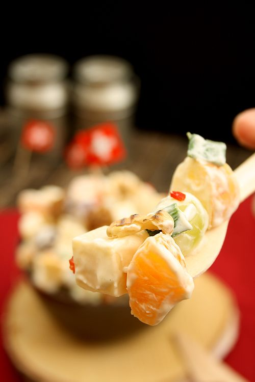 fruchtig- scharfer Käsesalat mit Schweizer Appenzeller-Käse