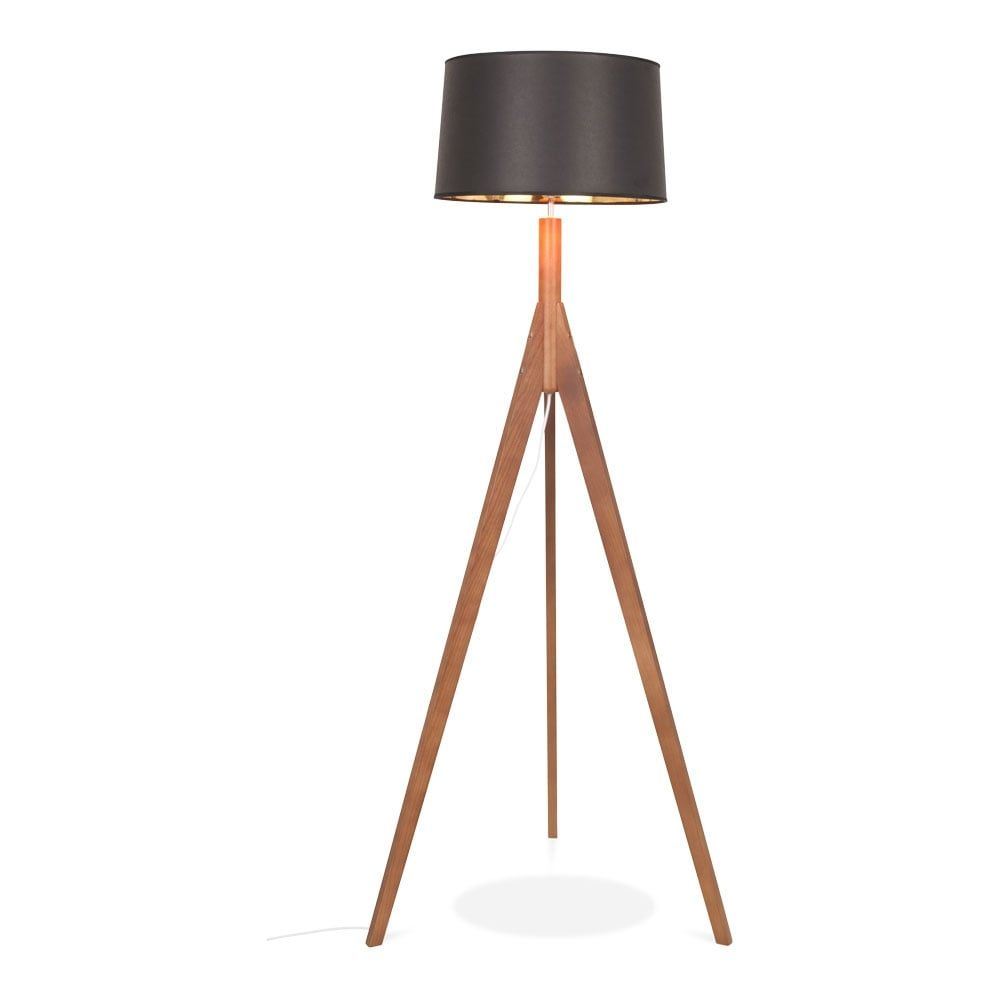Cult design cleo tripod tall floor lamp solid wood walnut finish the cleo is a contemporary style standing floor lamp with a large shade to compliment its elegant wooden tripod legs mozeypictures Gallery