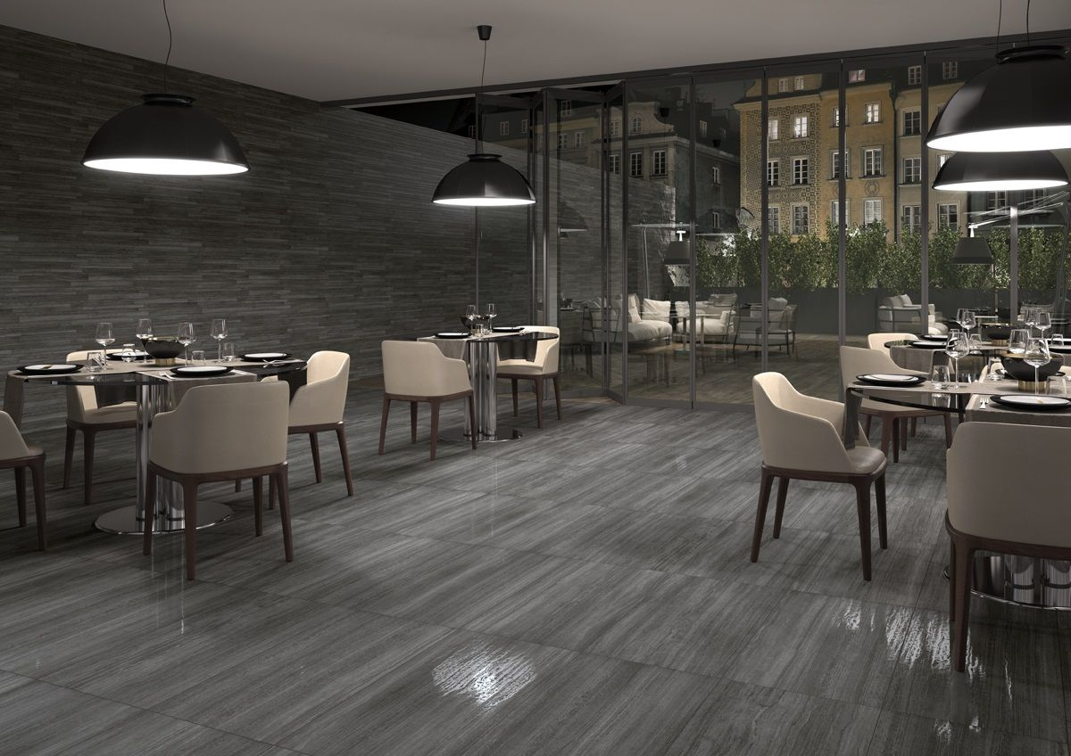 grey / gray tile on floor and wall in restaurant. contemporary