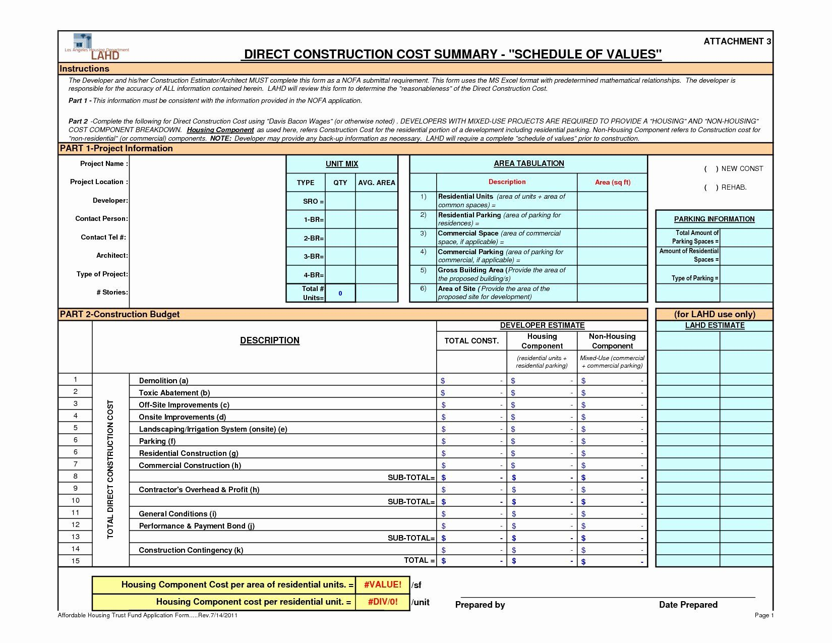 Residential Construction Budget Template Excel Beautiful