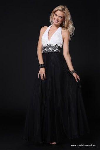 Abendkleid Lang Weiß Schwarz | Hübsche kleider, Abendkleid