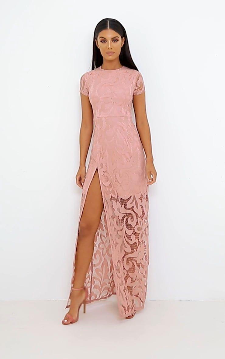 d065722b3b Nude Lace Cap Sleeve Extreme Split Maxi Dress