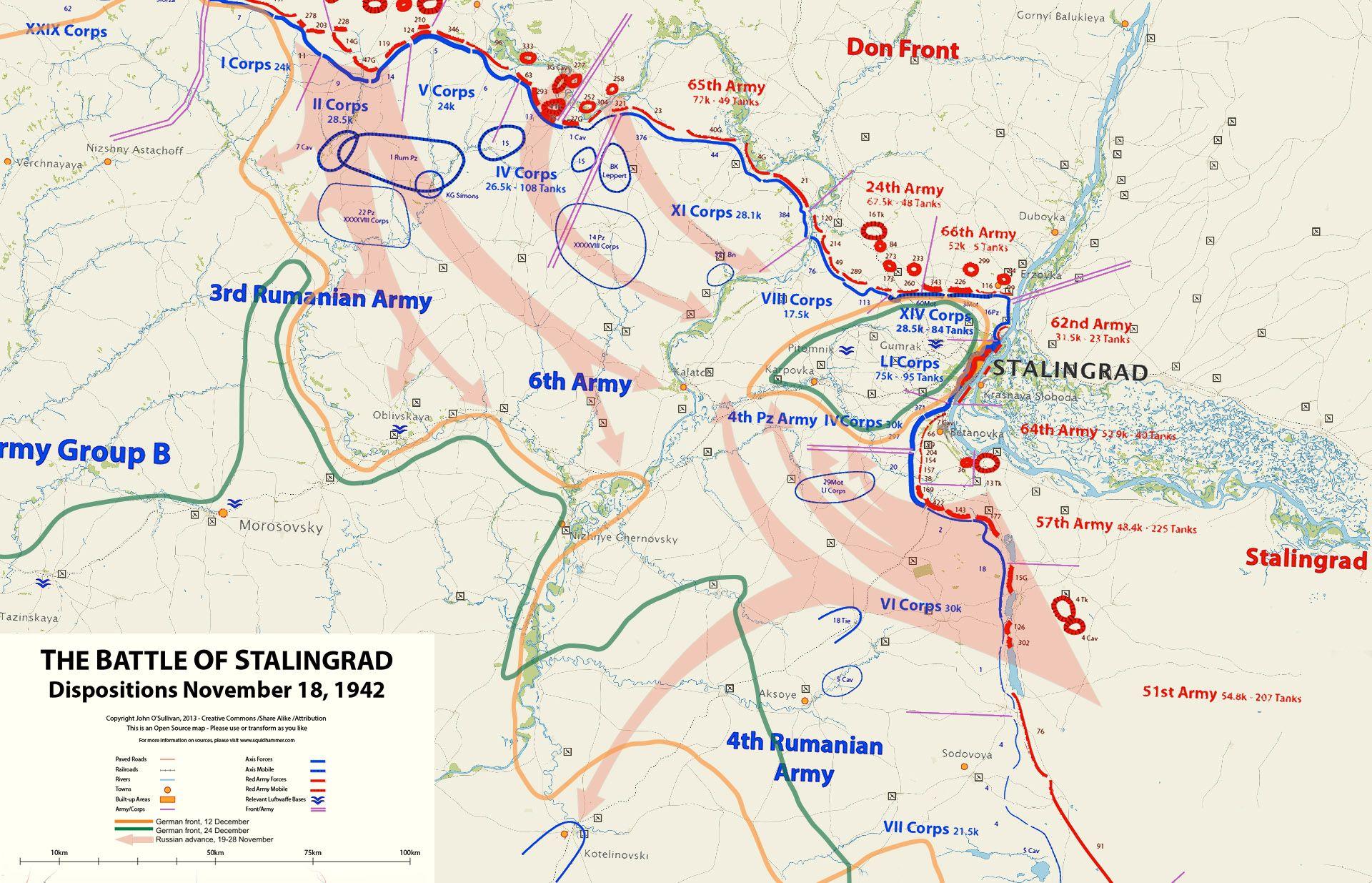 Operation Uranus Battle Of Stalingrad By O Sullivan Map