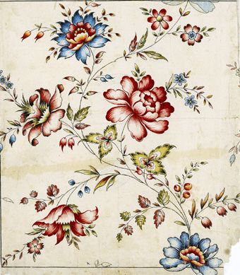 "Original textile design on paper from the manufacturer ""Haussmann"", Logelbach, near Colmar, last part of the 18th century."