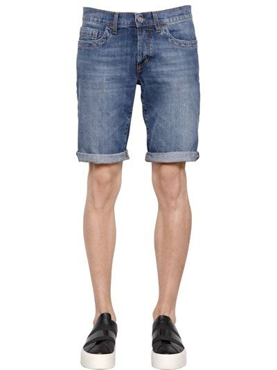 BIKKEMBERGS SLIM FIT STRETCH COTTON DENIM SHORTS, DENIM. #bikkembergs #cloth #shorts