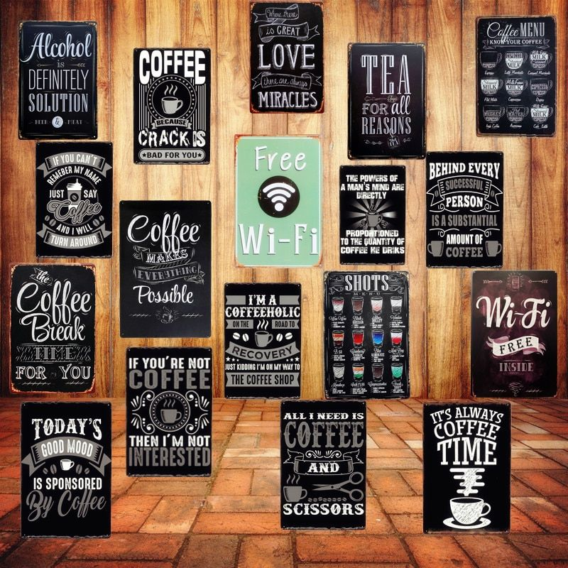Free Wifi Shabby Chic Home Bar Cafe Vintage Wall Decor Art Metal