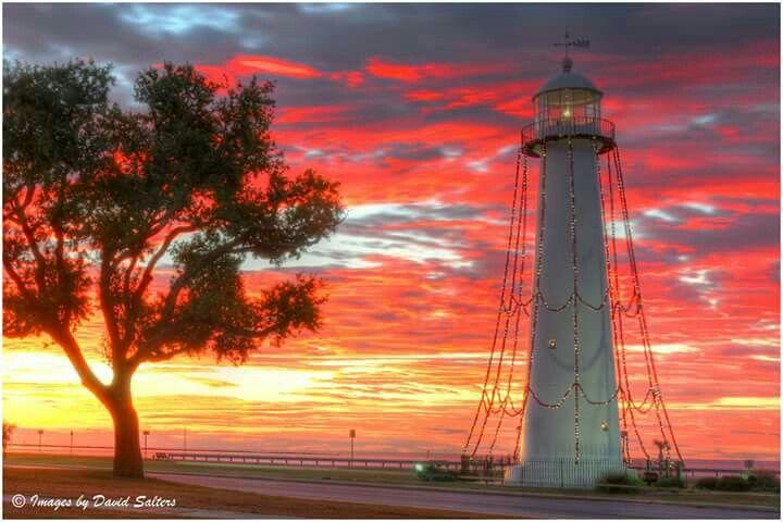 Christmas Sunrise Biloxi Lighthouse 2014 By Alex North Biloxi