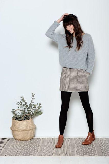 Gray And With Skirt TightsLegging Black SweaterPrinted XZTwuOPik