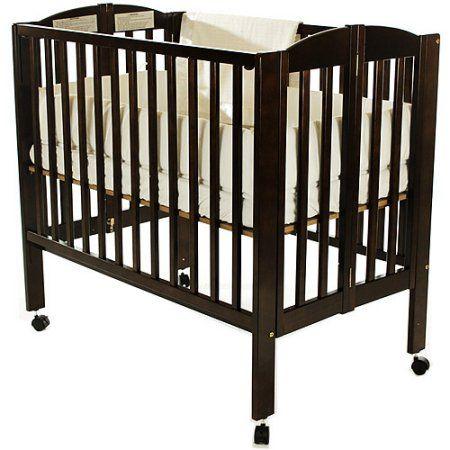 Dream On Me 2-in-1 Folding Portable Crib Espresso, Brown