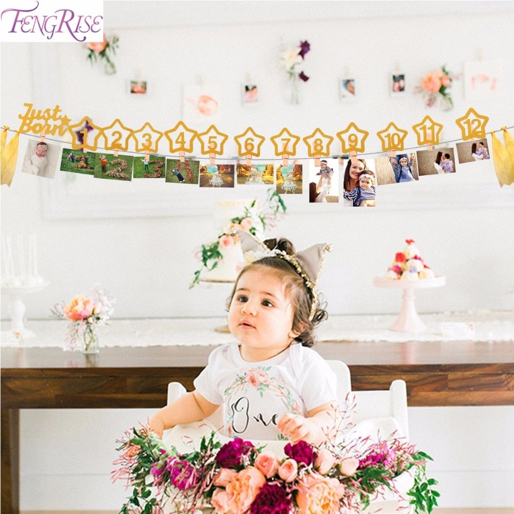 Us 346 11 Off Fengrise 12 Months Photo Frame Banner Baby