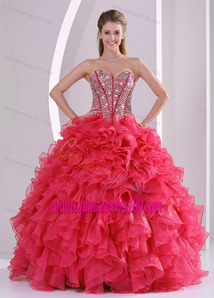 Red Ball Gown Sweetheart Ruffles and Beading Decorate Quinceanera ...