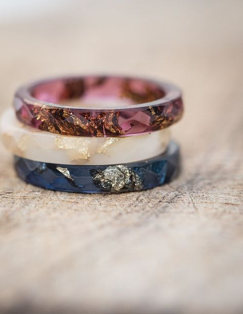 Vanilla White Resin Stacking Skinny Ring Gold Flakes by daimblond