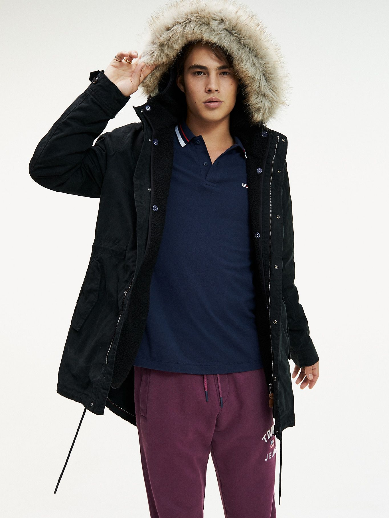 Cotton Fleece Lined Parka Tommy Black Tommy Hilfiger Outerwear Jackets Men S Coats Jackets Tommy Hilfiger [ 1819 x 1364 Pixel ]