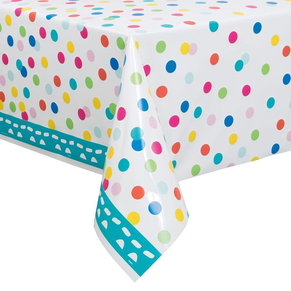 Confetti cake birthday plastic tablecloth 84