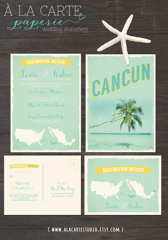 Cancun Mexico Beach Destination Wedding Invitation And Rsvp Cards