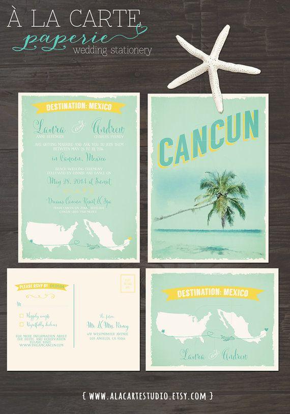 Destination Wedding Invitation Cancun Mexico Beach