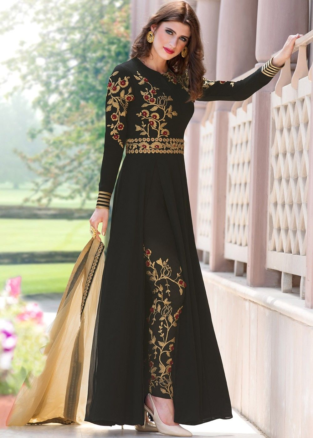 5c257c7dd94 #Black #Georgette #PantSuit with #Dupatta Dress Indian Style, Indian Outfits ,