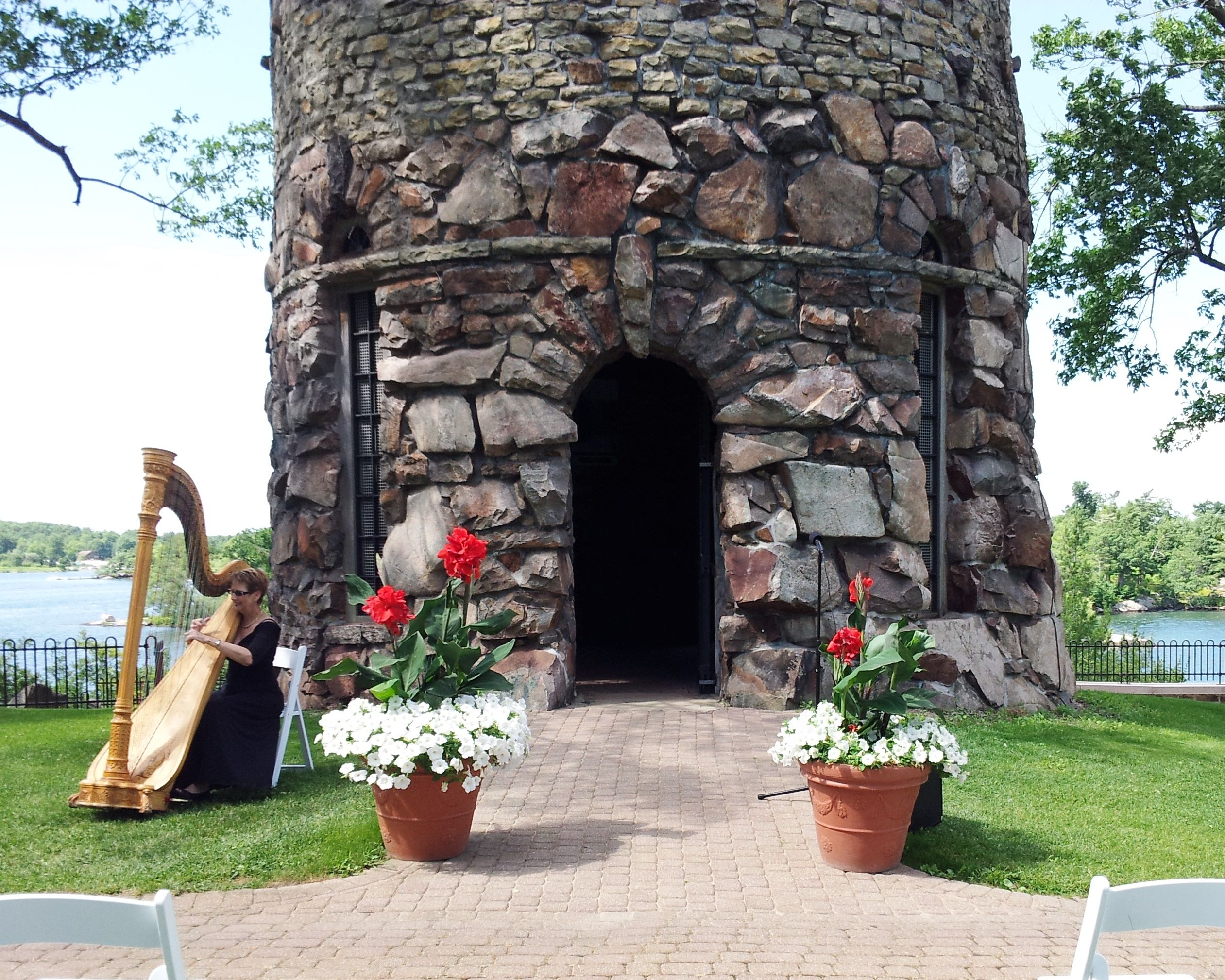 beautiful wedding at the dove cote at romantic boldt castle in 1000 islands new york