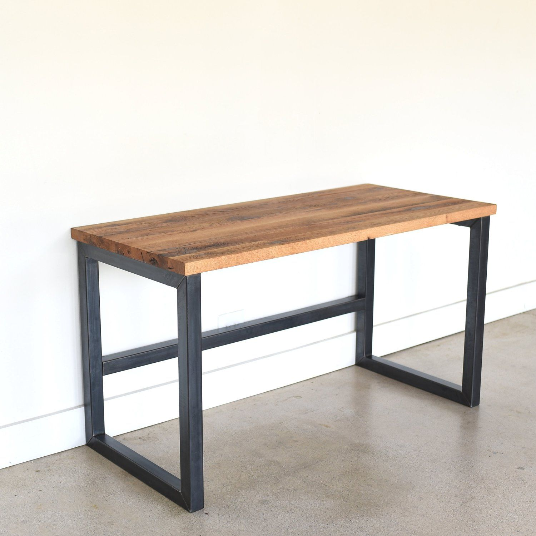 Industrial Reclaimed Wood Desk 2 X 2 Metal Frame What We Make Wood And Metal Desk Reclaimed Wood Desk Wood Furniture Plans