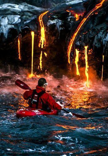 Kilauea, isla grande, Hawaii. El lugar más extremo para navegar en kayak en el mundo.