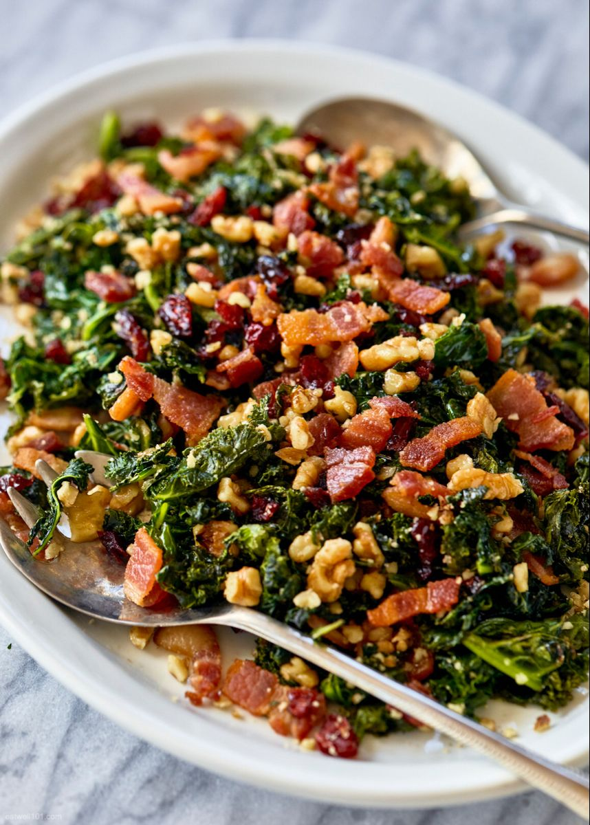 Healthy Sauteed Kale Salad Recipe With Bacon Walnuts And Cranberries Kale Salad Recipe Kale Recipes Kale Salad Recipes Sauteed Kale