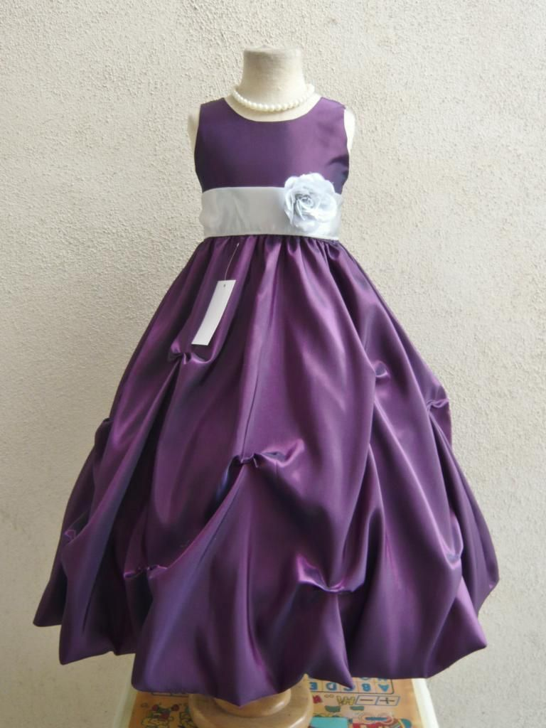 Wallao.com - Flower Girl Dress Purple Pick Up with Silver for ...