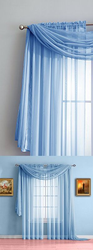 Warm Home Designs Extra Long Baby Blue Sheer Window Scarf  All Valance Scarves are 56 X 216 Inches in Size & are Great as Kitchen, Bathroom or Bedroom Window Toppers  Color Blue 216  is part of bedroom Blue Window -