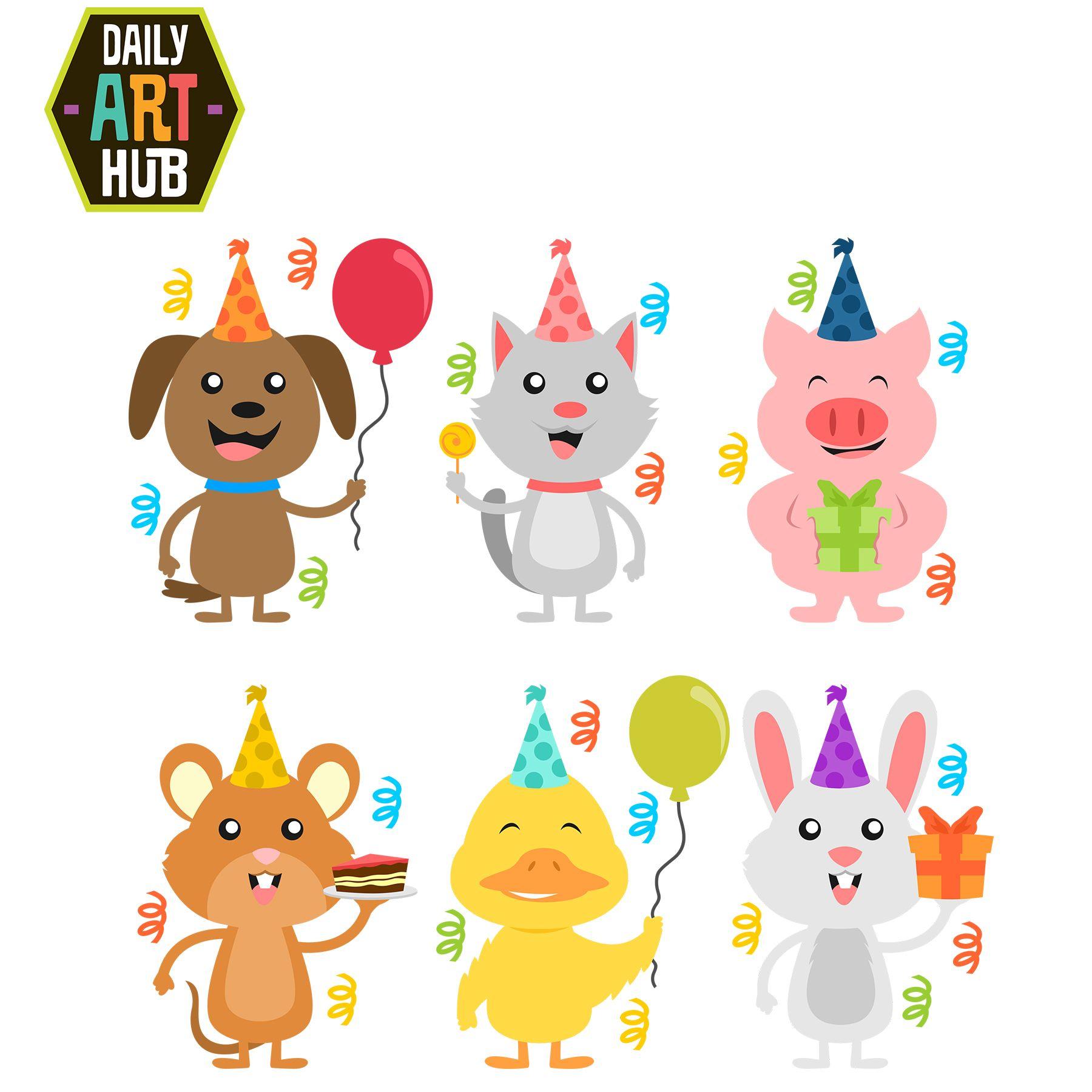 Birthday Animals Clip Art Set Happy Birthday Animals Kitten Drawing Cute Animal Clipart