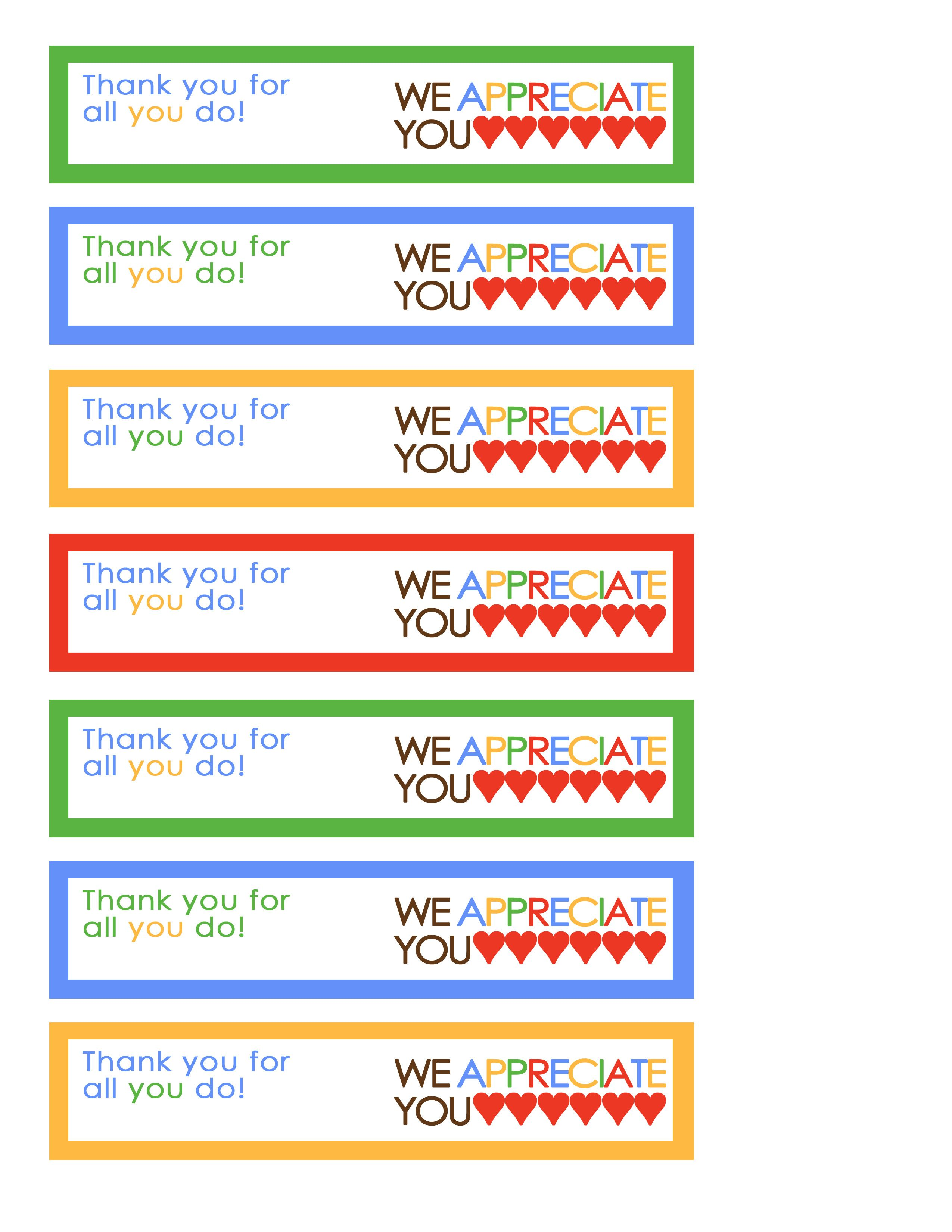 We Appreciate You Tags Rainbow | Miscellaneous | Pinterest ...
