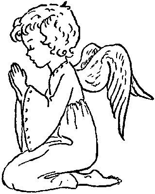 Kneeling Praying Angel Coloring Page