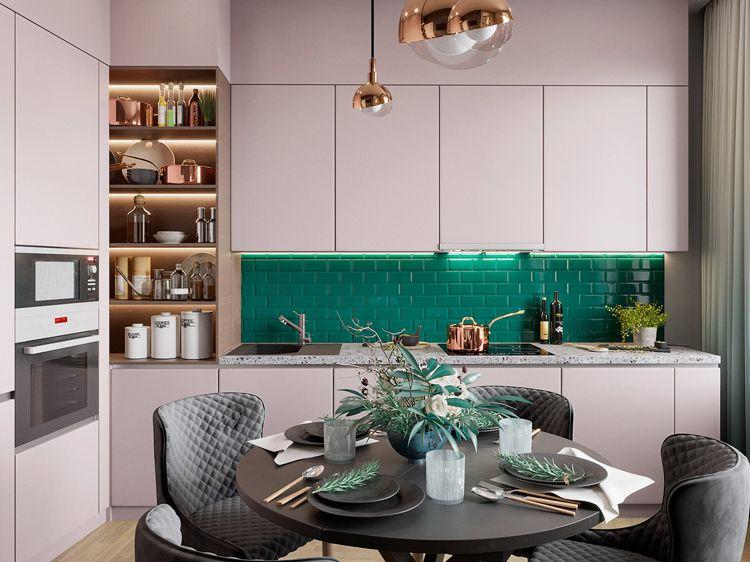 Grün und Rosa kombinieren in der Küche Granit Arbeitsplatte