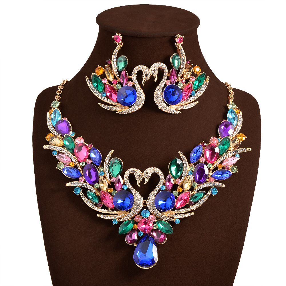 2017 New Africa Wedding Jewelry Sets Full Austrian Crystal Swan Necklace  Earrings For Women Bridal Jewelry