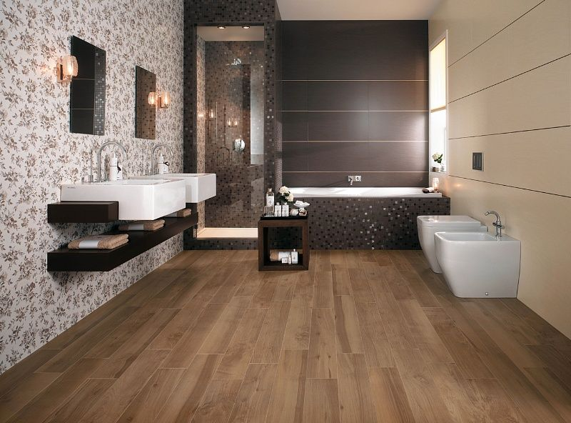 bagno con pavimento effetto legno - Cerca con Google  idee per casa  Pinter...
