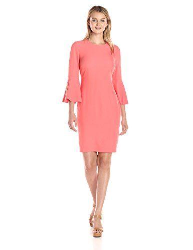 Calvin Klein Womens Bell Sleeve Dress