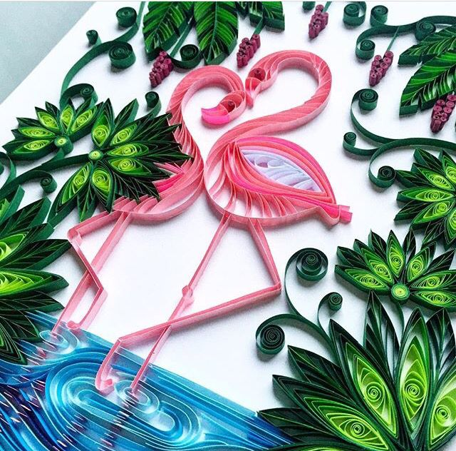 Small Flamingo Quilling Template