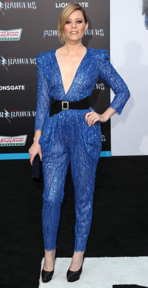 "Elizabeth Banks in Zuhair Murad attends the ""Power Rangers"" premiere in L.A. #bestdressed"