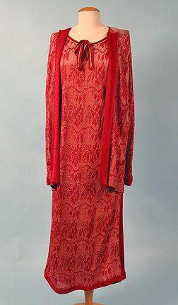 Silk Knit Day Dress & Jacket   c. 1922