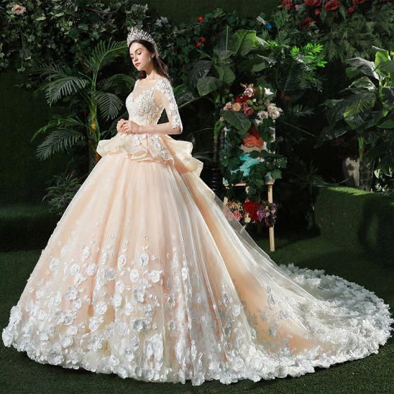 fac4050bae8 Stunning Champagne Pierced Wedding Dresses 2018 Ball Gown - Wedding Dresses   stunningbeddings